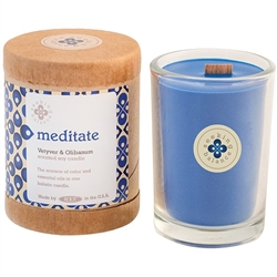 Meditate - Citrus Myrhh and Olibanum Scented Soy Candle Crackling Wooden Wick 6.5 oz. (308879)