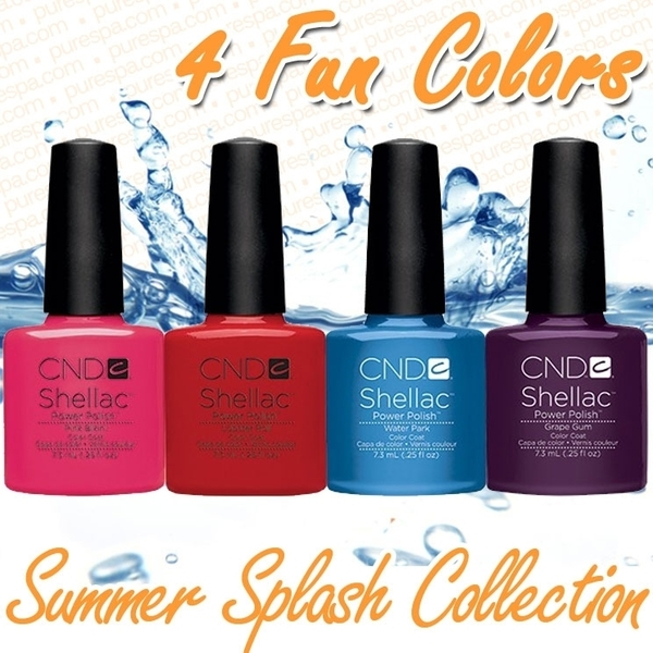 CND Shellac 2013 Summer Splash Collection Set / 4 Colors - Grape Gum + Lobster Roll + Water Park + Pink Bikini - The 14 Day Manicure is Here!