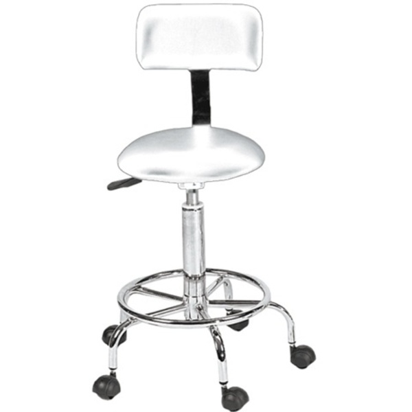 Encore White Technician Stool with Back Support (FBC-DSW)