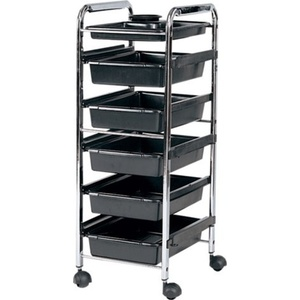 Encore Roller Cart Beauty Trolley with 6 Tray Black (FS-BT6)