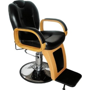 Encore Lodovico Barber Chair Round Base Recliner with Wood Trim (H-2207BKR)