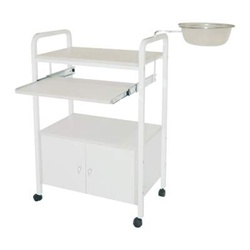 Encore White Beauty Trolley 2 Trays with Bowl & Storage Cabinet (H-2783)