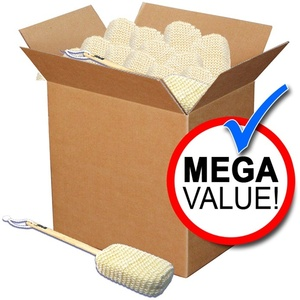 Sisal Bath Sponge with Detachable Wood Handle Mega Pack of 100 (SA-B1 100)