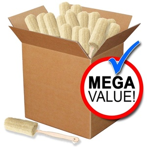 Round Loofah Bath Brush with Wood Handle Mega Pack of 72 (SA-B3 72)