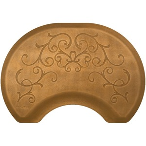 2.5'x3.5' Estates Collection Round Salon Mat with Chair Depression in Bella Copper Leaf (SS2535C75BCL)