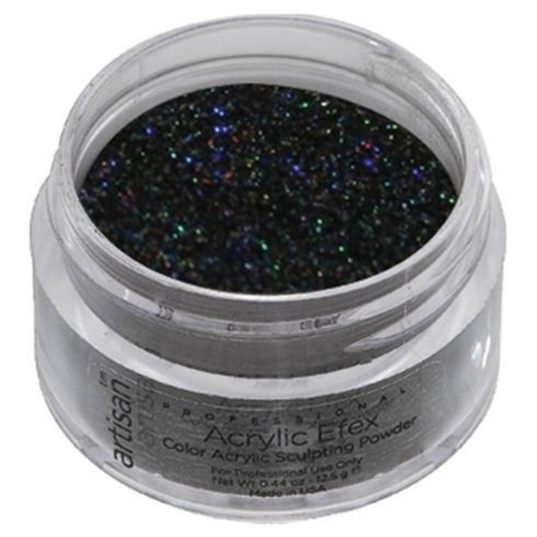 Color Acrylic Powder Pro Size - Holographic Black Glitter - 1 oz. 28.35 Grams (119196)