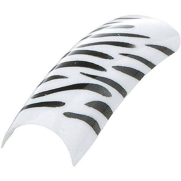 Artisan Pre Designed Nail Tips - Zebra on White Pack of 100 (119638)