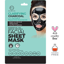 BCL Clarifying Charcoal Face Mask Sheet - Deep Cleansing for Oily Skin  Pack of 6 (340301)