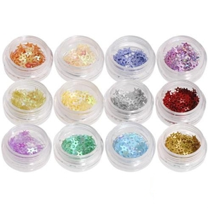 Rhinestone Nail Art Kit - Star Shape - 12 colors (520266)