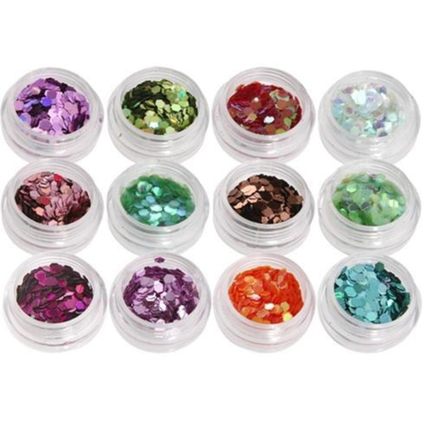 Nail Art Special Effect - Hexagon Shape - 12 colors (520267)