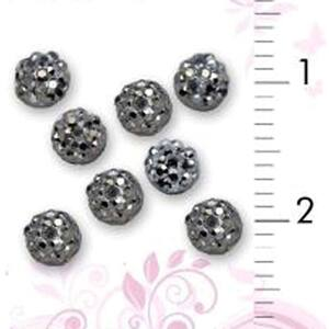 3D Nail Art Designs - Dark Silver Dome Pack of 50 Pieces (520284)
