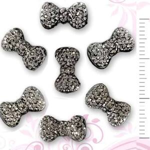 3D Nail Art Designs - Black Diamond Nail Bow Tie Pack of 15 Pieces (520290)