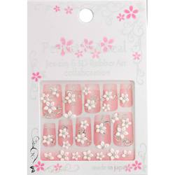 Japanese 3D Nail Art Stickers - White Sakura on Crystal Vines - R-7 - Each (520323)