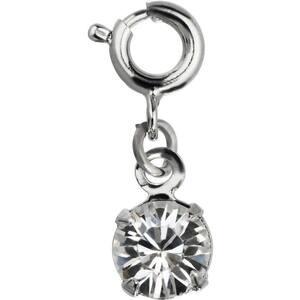 Japanese 3D Nail Art Jewelry - Dangling Charm with Loop Lock - Silver Diamond Stone - Each (520350)