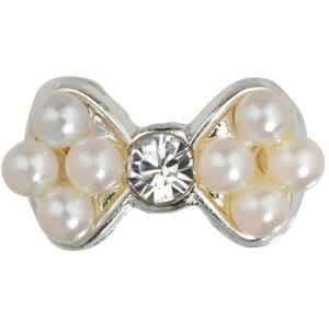 Japanese 3D Nail Art Jewelry - Pearl Bow With Diamond - Each (520362)