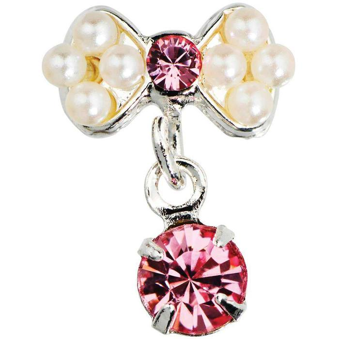 Japanese 3D Nail Art Jewelry - Dangling Charm - Pearl Bow With ...