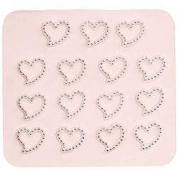 Japanese 3D Nail Charms - Mini Silver Hearts - 15 Stickers (520376)