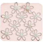 Japanese 3D Nail Charms - Trendsetting Silver Flowers - 10 Stickers (520384)