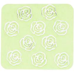 Japanese 3D Nail Charms - Lovely Silver Roses - 10 Stickers (520391)
