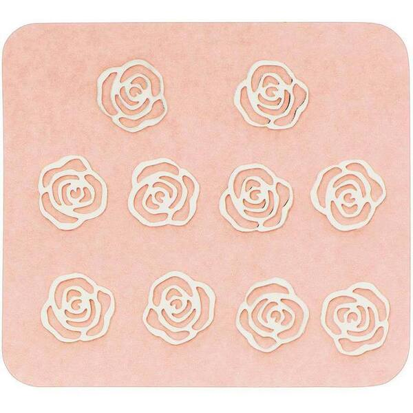 Japanese 3D Nail Charms - Lovely Mini Silver Roses - 10 Stickers (520393)