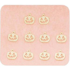 Japanese 3D Nail Charms - Spooky Golden Pumpkins - 10 Stickers (520410)