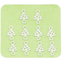 Japanese 3D Nail Charms - Silver Christmas Trees - 10 Stickers (520417)