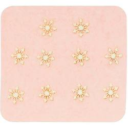 Japanese 3D Nail Charms - Mini Golden Snowflakes - 10 Stickers (520431)