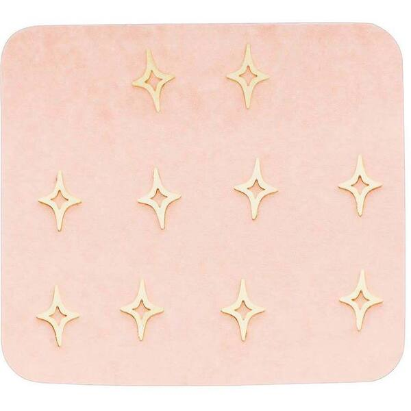 Japanese 3D Nail Charms - Mini Golden North Stars - 10 Stickers (520436)