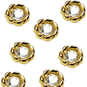 Japanese 3D Nail Charms - Gold Ring with Diamond - 12 Stickers (520469)