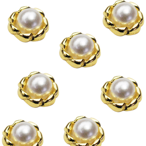 Japanese 3D Nail Charms - Gold Ring with Pearl - 12 Stickers (520470)