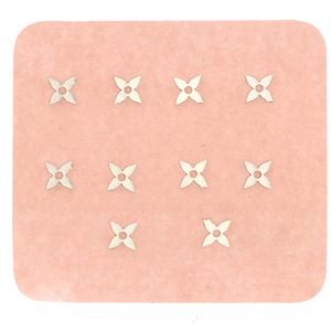 Japanese 3D Nail Charms - Silver Flower - 10 Stickers (520472)
