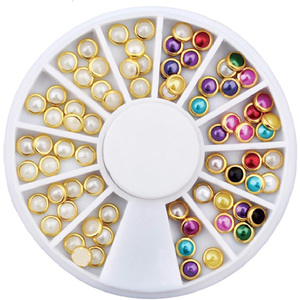 3D Nail Art Designs - Encased Multi-Color Pearls - Each (520527)