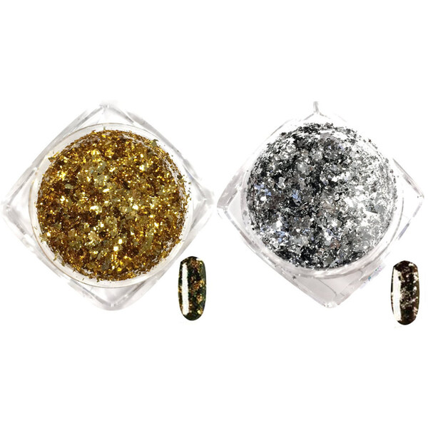 Artisan Nail Art Pigment Flakes - Dazzling Gold & Silver Duo - 2 Pieces (520551)