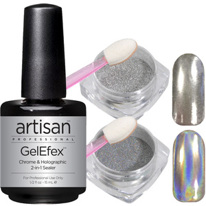 Mirror Chrome Nail Powder + Holographic Pigment + 2-in-1 Top & Base Coat - Showstopper Trio - Kit (529100)