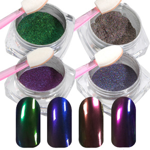 Mirror Chrome Nail Powder 4 Pieces - Pigment for Brilliant Shine Effect - Colors Ablaze Collection - Set (529101)