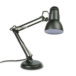 "Incandescent Knight Swing Arm Desk Lamp Weighted Base 22"" Reach Matte Black (LEDL423MB)"