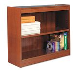 Square Corner Wood Veneer Bookcase 2-Shelf 35-38 x 11-34 x 30 Medium Cherry (ALEBCS23036MC)