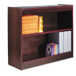 Square Corner Bookcase Wood Veneer 2-Shelf 35-38w x 11-34d x 30h Mahogany (ALEBCS23036MY)