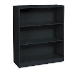 Metal Bookcase 3 Shelves 34-12w x 12-58d x 41h Black (HONS42ABCP)