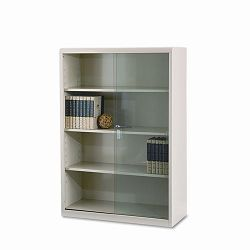 Executive Steel Bookcase wGlass Doors 4 Shelves 36w x 15d x 52h Putty (TNN352GLPY)