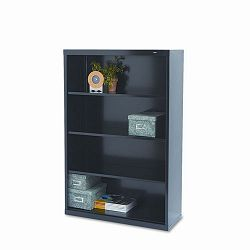 Metal Bookcase 4 Shelves 34-12w x 13-12d x 52-12h Black (TNNB53BK)