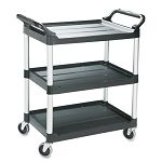 Economy Plastic Cart 3-Shelf 18-58w x 33-58d x 37-34h Black (RCP342488BLA)