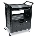 Utility Cart wLocking Doors 2-Shelf 33-58w x 18-58d x 37-34h Black (RCP345700BLA)
