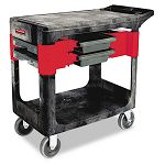 Trades Cart 2-Shelf 19-14w x 38d x 33-38h Black (RCP618000BLA)
