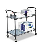 Wire Utility Cart 2-Shelf 43-34w x 19-14d x 40-12h Black (SAF5337BL)