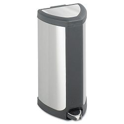 Step-On Waste Receptacle Triangular Stainless Steel 4 gal ChromeBlack (SAF9685SS)