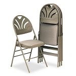 Fabric Padded SeatMolded-Back Folding Chair Kinnear Taupe 4Carton (CSC36875KNT4)