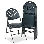 XL Fanfare Vinyl Padded SeatMolded Back Folding Chair Black 4Carton (CSC369700054)