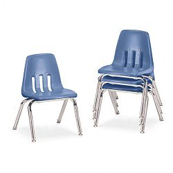 "9000 Series Classroom Chairs 12"" Seat Height BlueberryChrome 4Carton (VIR901240)"