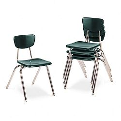"3000 Series Classroom Chairs 18"" Seat Height Forest Green 4Carton (VIR301875)"